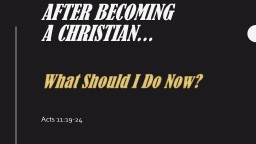 After Becoming a Christian