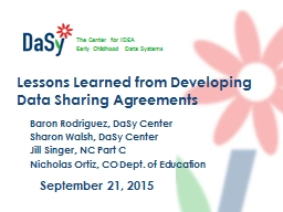 Lessons Learned from Developing Data Sharing Agreements
