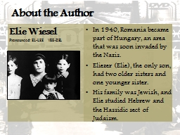 About the Author Elie Wiesel