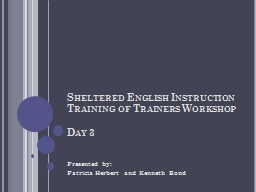 Sheltered English Instruction Training of Trainers Workshop
