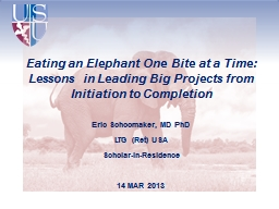Eating an Elephant One Bite at a Time: Lessons in Leading Big Projects from Initiation to Completion