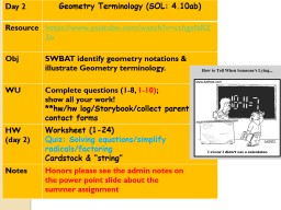 Day 2 Geometry Terminology (SOL: 4.10ab)