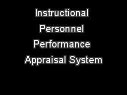 Instructional Personnel Performance Appraisal System