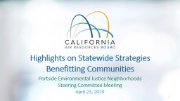 Highlights on Statewide Strategies