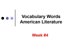Vocabulary Words American Literature