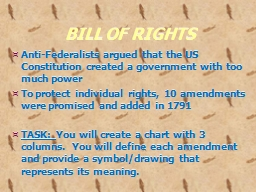 BILL OF RIGHTS Anti-Federalists argued that the US Constitution created a government with too much power