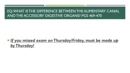 EQ: What is the difference between the alimentary canal and the Accessory Digestive organs?