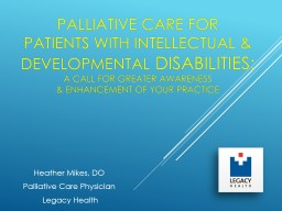 Palliative Care for