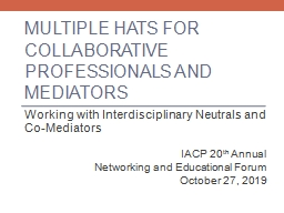 Multiple Hats for collaborative professionals and mediators