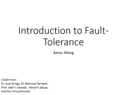 Introduction to Fault-Tolerance