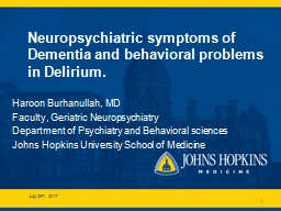 Neuropsychiatric symptoms of Dementia and behavioral problems in Delirium.