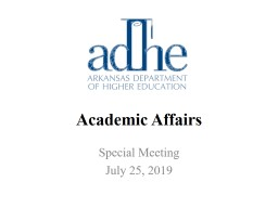 Academic Affairs Special Meeting