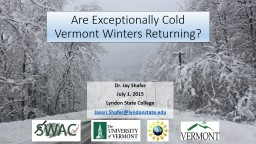 Are Exceptionally Cold Vermont Winters Returning?