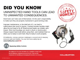 DID YOU KNOW   UNINSPECTED HAND TOOLS CAN LEAD