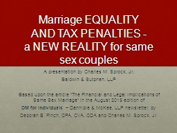 Marriage EQUALITY AND TAX PENALTIES