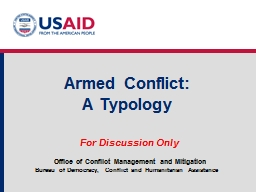 Armed Conflict: A Typology