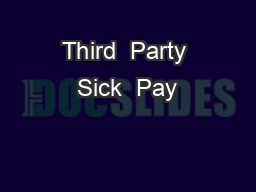 Third  Party Sick  Pay
