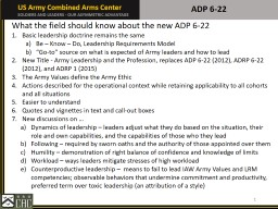 ADP 6-22 1 What the field should know about the new ADP 6-22
