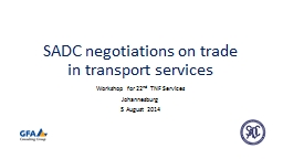 SADC negotiations on trade in transport