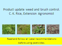 Product update weed and brush control