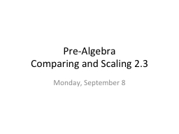 Pre-Algebra	 Comparing and Scaling 2.3