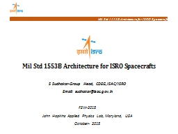 Mil Std 1553B Architecture for ISRO Spacecrafts
