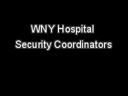 WNY Hospital Security Coordinators