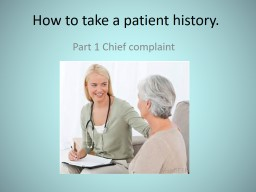 How to take a patient history.