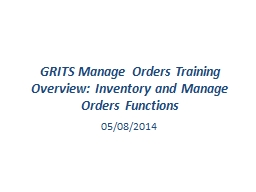 GRITS Manage Orders Training Overview: Inventory and Manage Orders Functions