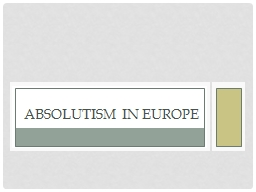 Absolutism in Europe