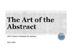 The Art of the Abstract