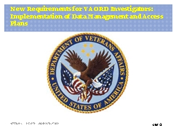 New Requirements for VA ORD Investigators: