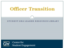 Student Org  Leader resource library