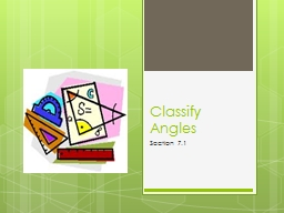 Classify Angles Section 7.1