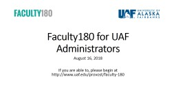 Faculty180 for UAF Administrators