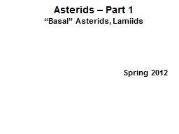 Asterids  – Part 1