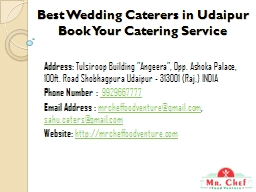 Best Wedding Caterers in Udaipur Book Your Catering Service