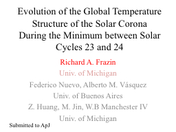 Evolution of the Global Temperature Structure of the Solar CoronaDuring the Minimum between Solar Cycles 23 and 24