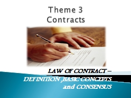 Theme 3  Contracts LAW OF CONTRACT