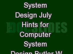 Hints for Computer System Design July   Hints for Computer System Design Butler W