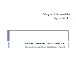 Atopic Dermatitis April 2015