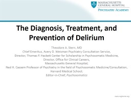 The Diagnosis, Treatment, and Prevention of Delirium