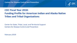 CDC Fiscal Year 2018:  Funding Profile for American Indian and Alaska Native Tribes and Tribal Orga