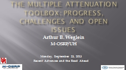The Multiple Attenuation TOOLBOX: PROGRESS, CHALLENGES and