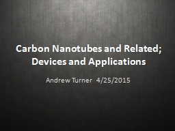 Carbon  Nanotubes  and Related; Devices and Applications