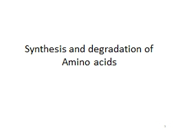 Synthesis and degradation of Amino acids