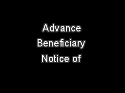 Advance Beneficiary Notice of
