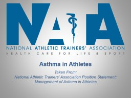 Asthma in Athletes Taken From:
