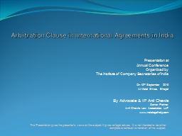 Arbitration Clause  in International Agreements in India
