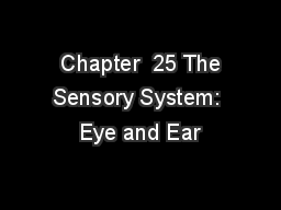 Chapter  25 The Sensory System: Eye and Ear